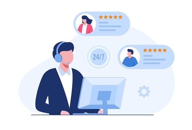 Zadowolenie klienta, informacje zwrotne, szybka reakcja, całodobowa koncepcja call center, wektor ilustracji