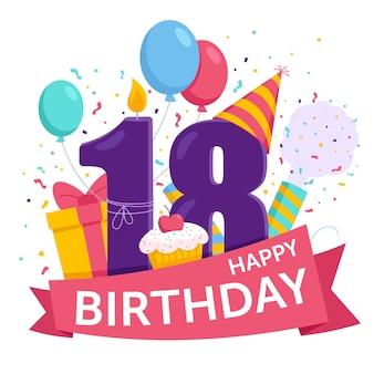 Zadowolony 18 urodziny styl tła