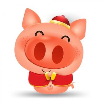 Zadowolony chińczyk nowy rok 2019, elementy wektorowe świnia dla