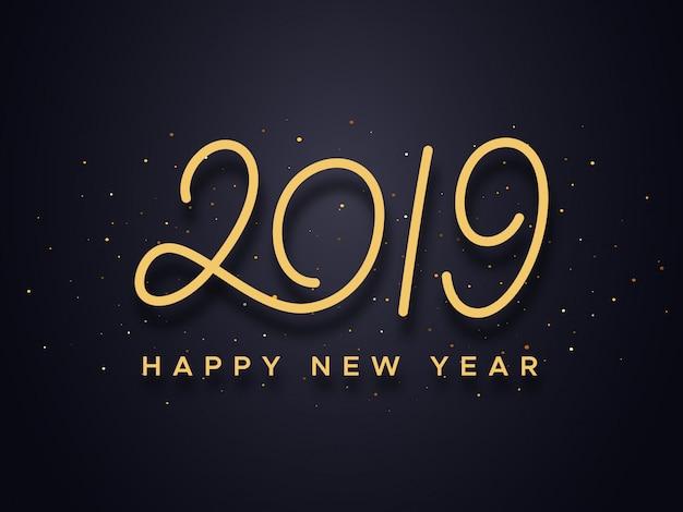 Zadowolony chińczyk nowy rok 2019 typografia wektor karty