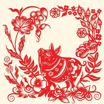 Zadowolony chińczyk nowy rok 2019 znak zodiaku rok świni
