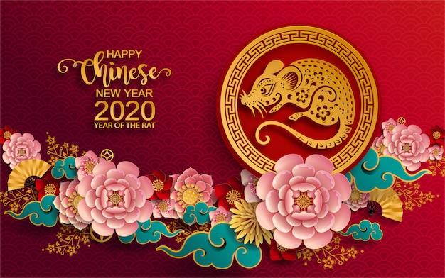 Zadowolony chińczyk nowy rok 2020. rok szczura