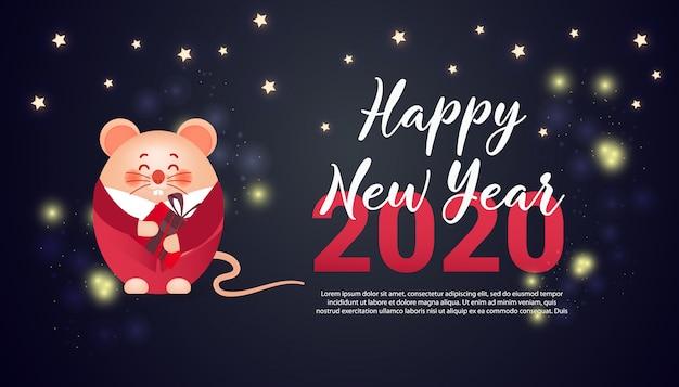 Zadowolony chińczyk nowy rok banner 2020 rok szczura.