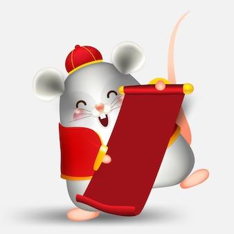 Zadowolony chińczyk nowy rok, mysz lub szczur znaków