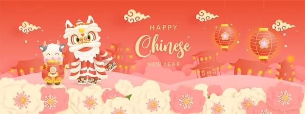 Zadowolony chińczyk nowy rok transparent
