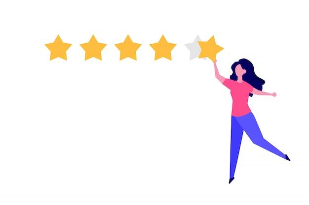 Zadowolony klient, styl ilustracji koncepcji przeglądu opinii użytkowników.