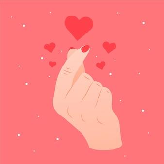 Zadowolony motyw serca palca