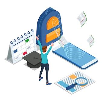 Zadowolony student uzyskuje dostęp do e-learningu w telefonie komórkowym. edukacja izometryczna z powrotem do szkoły ilustracji. wektor