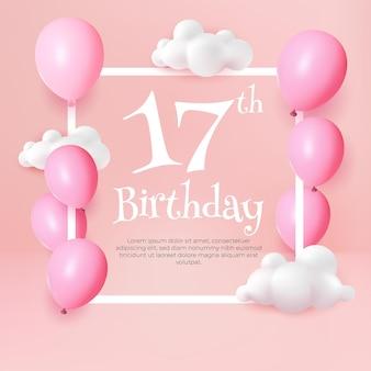 Zadowolony urodziny 17 kartkę z życzeniami balon różowy pastel