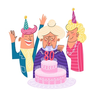 Zadowolony urodziny 80: starsza pani z ciasta i rodziny płaskie słodkie na białym tle