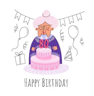 Zadowolony urodziny 80: starsza pani z płaskim słodkie ciasto na białym tle