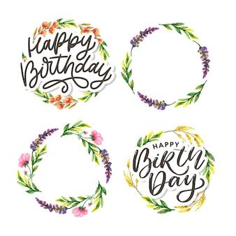 Zadowolony urodziny akwarela kwiatowy zestaw ramek