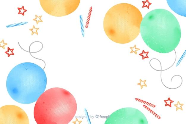 Zadowolony urodziny akwarela ramki