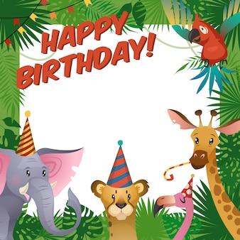 Zadowolony urodziny baby shower pozdrowienia tropikalny zoo świętować szablon zaproszenia dla dzieci