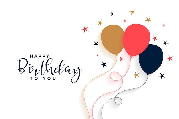 Zadowolony urodziny balon tło w stylu płaski