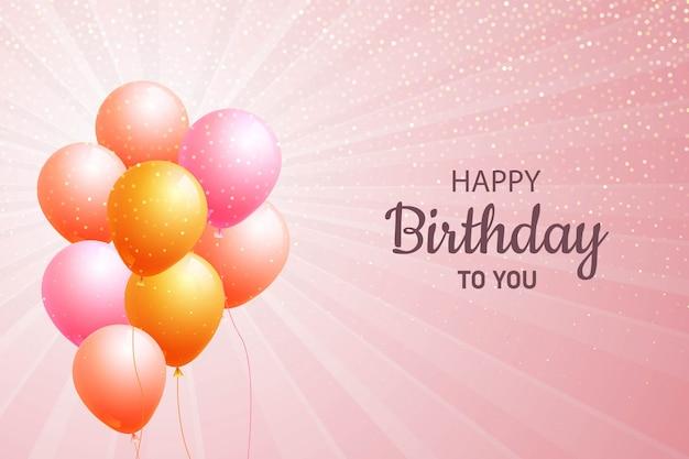 Zadowolony urodziny balony karty tło