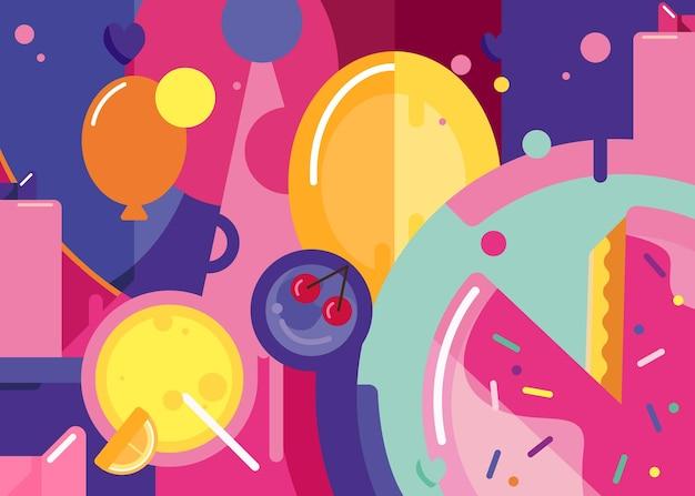 Zadowolony urodziny baner z ciastem i balonami. projekt afisz wakacje w stylu abstrakcyjnym.