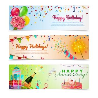 Zadowolony urodziny banery rocznica zestaw