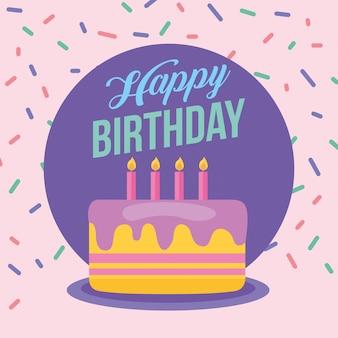 Zadowolony urodziny celebracja karta ze słodkim ciastem