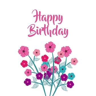Zadowolony urodziny celebracja plakat kwiatowy