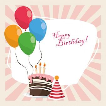 Zadowolony urodziny celebracja słodka ozdoba kapelusz i balony