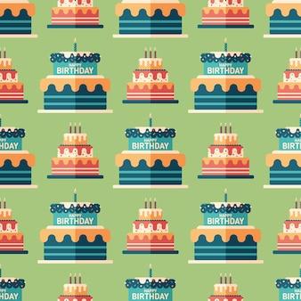 Zadowolony urodziny ciasta płaski sztuka wzór.