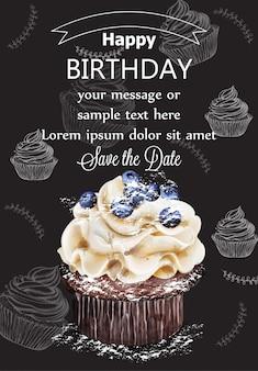 Zadowolony urodziny ciastko karty