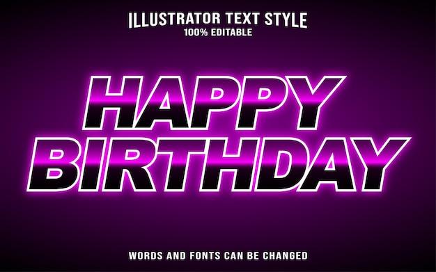 Zadowolony urodziny efekt stylu tekstu