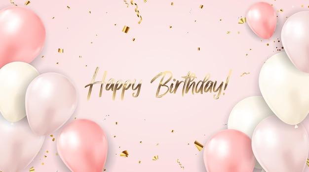 Zadowolony urodziny gratulacje projekt z konfetti i balony