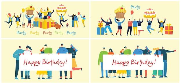 Zadowolony urodziny ilustracja w stylu płaski