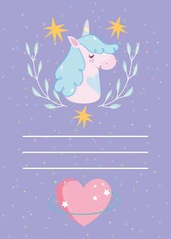Zadowolony urodziny jednorożca gwiazdy kwiatowy serce kreskówka zaproszenie karta