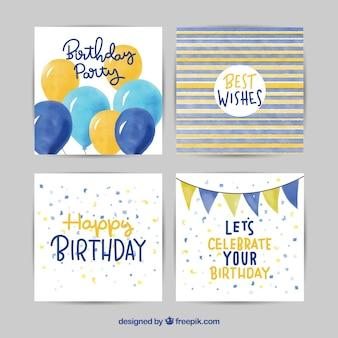 Zadowolony urodziny kart kolekcja w stylu przypominającym akwarele