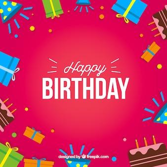 Zadowolony urodziny karty prezenty pudełko i ciasta