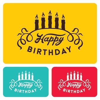 Zadowolony urodziny karty szablony ilustracji