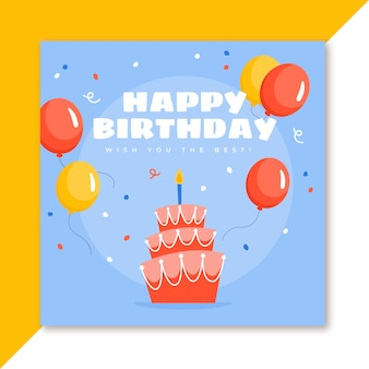 Zadowolony urodziny karty tort i balony