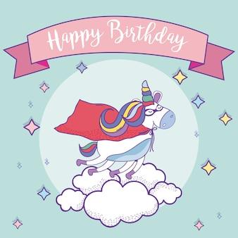 Zadowolony urodziny karty z bajki fantasy jednorożce
