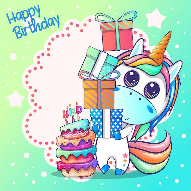 Zadowolony urodziny karty z cute jednorożca