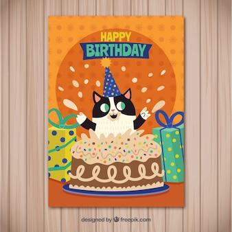 Zadowolony urodziny karty z ładny kot w stylu płaski