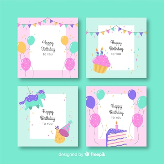 Zadowolony urodziny kolekcji kart