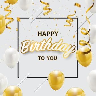 Zadowolony urodziny konfetti złotej folii