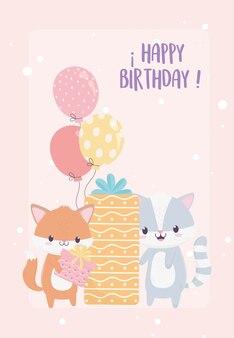 Zadowolony urodziny lisa i szopa prezent i karta dekoracji uroczystości