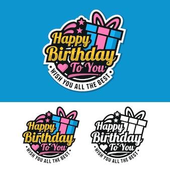 Zadowolony urodziny logo naklejki etykiety znaczek