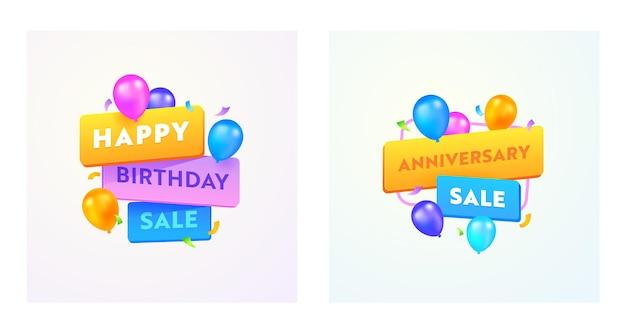 Zadowolony urodziny lub rocznica sprzedaż banery reklamowe z typografią i kolorowe balony na białym tle. oferta specjalna media promo szablon projektu dla rabatu na zakupy. ilustracja wektorowa
