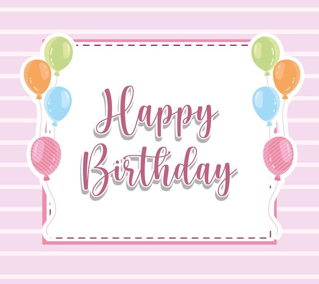Zadowolony urodziny napis balony karty