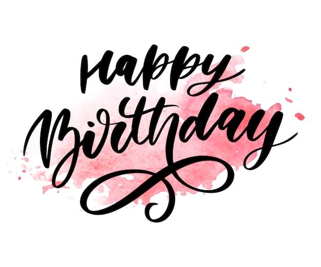 Zadowolony urodziny napis kaligrafia naklejka gradientu pędzla
