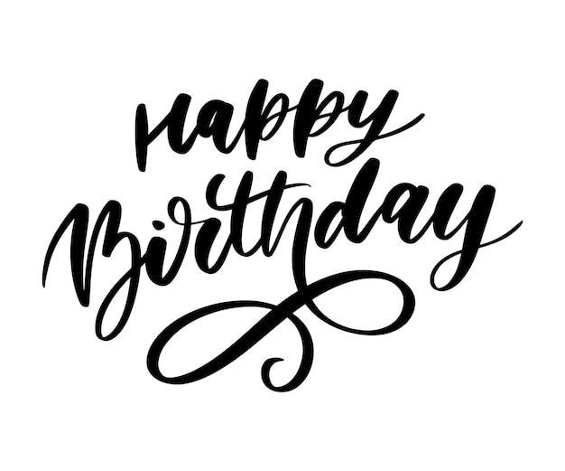 Zadowolony urodziny napis kaligrafia naklejki pędzla gradientu