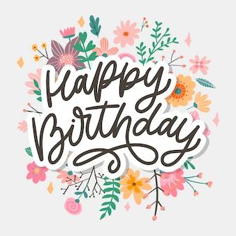 Zadowolony urodziny napis kaligrafia slogan kwiaty ilustracja tekst