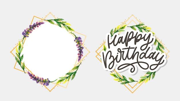 Zadowolony urodziny napis kaligrafia slogan kwiaty wektor ilustracja tekst