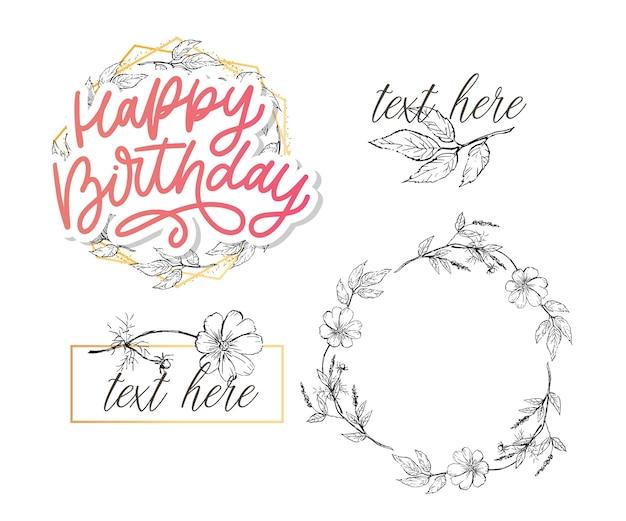 Zadowolony urodziny napis kaligrafia z kwiatami