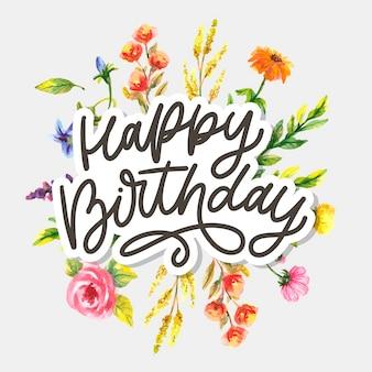 Zadowolony urodziny napis kaligrafii